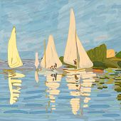 Sailboats In Claude Monet Style. Digital Element Of The Painting regatta In Argenteuil By Claude M poster