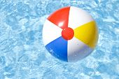 Beach Ball Floating On The Pool
