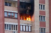 image of tenement  - Fire in one of the apartments of a large tenement - JPG