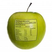 Isolated Objects: Apple With Nutritional Information
