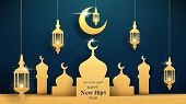 Happy New Hijri Year Card. Islamic Holiday Banner With Golden Crescent, Mosque And Lanterns. Vector  poster