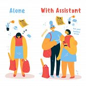 A Personal Assistant Helps A Woman With Household Chores.tired Of Homework, A Woman Seeks Help From  poster