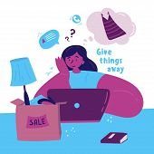 Young Woman Selling Unnecessary Things And Clothes On The Internet.girl Sorts Her Clothes And Things poster