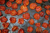 Tomatoes Dried On Baking Tray. Preparation Dried Tomatoes, Flat Lay. poster