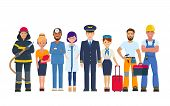 Group Of People Of Different Professions. Character Design Of Doctors, Pilot And Stewardess, Builder poster