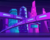 Futuristic Neon Night City With Skyscrapers And Railroad. Metropolis In Blue Violet Colors. poster