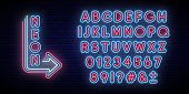 Neon Glowing Alphabet. Bright Typeface. Set Of Neon Letters And Numbers. Alphabet On Dark Background poster