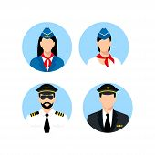 Pilot And Stewardess Icons Vector Isolated On White Background For Your Web And Mobile App Design. P poster