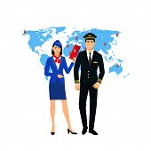 Flight Attendant And A Pilot- Vector Illustration. Stewardess With A Ticket In Hand And A Pilot On A poster