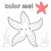 Outline Starfish. Coloring Page. Black And White Starfish Cartoon Character. Game For Kids. Vector I poster