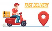 Scooter With Delivery Man. Fast Courier With Pizza, Motorcycle Driver On Road To Client. Restaurant  poster
