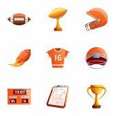 American Football Object Icon Set. Cartoon Set Of 9 American Football Object Vector Icons For Web De poster