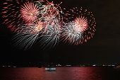 Fireworks On A Lake Water, Amazing Fireworks, Fireworks 2019, Fireworks Background, Fireworks Event, poster