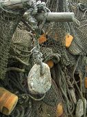 old fishing nets closeup