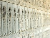 stock photo of xerxes  - Stony reliefs on the stairway of Apadana palace Persepolis  - JPG