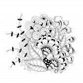 Abstract Ethnic Floral Vector Monochrome Floral Background. poster