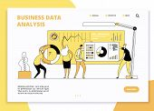 Data Analysis Landing Page. Digital Marketing Analysts Working On Statistic Charts Dashboard. Busine poster