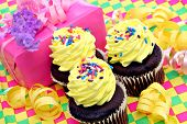 Chocolate Cupcakes with Yellow Frosting