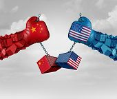 China Us Or United States Trade And American Usa Tariffs On Chinese Goods As A Conflict With Two Opp poster