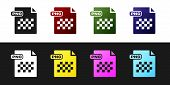 Set Png File Document. Download Png Button Icon Isolated On Black And White Background. Png File Sym poster