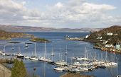 pic of bute  - Tarbert Scotland harbor with the Kintyre to Bute ferry arriving in the terminal - JPG