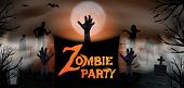 Invitation Template Halloween Zombie Party. Zombie Hand Rising Out From The Ground At The Graveyard  poster