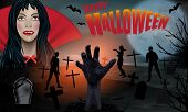 Young Vampire Woman Blood On His Lips And Zombie In Cemetery. Halloween Background. Zombie Hand Risi poster