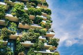 Green Futuristic Skyscraper Bosco Verticale, Vertical Forest Apartment Building With Gardens On Balc poster