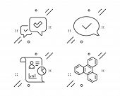 Approved Message, Report And Approve Line Icons Set. Chemical Formula Sign. Accepted Chat, Work Stat poster