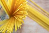 Yellow Long Spaghetti On A Rustic Background. Yellow Italian Pasta. Long Spaghetti. Raw Spaghetti Bo poster