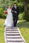foto of wedding couple  - young couple on the wedding day portrait - JPG