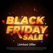 Black Friday Sale. 3d Letters Numbers Gold. Sale And Discounts Banners. Creative Glowing Social Medi poster