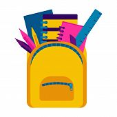 School Backpack And School Stuff. Back To School With School Supplies Set. Vector Illustration poster