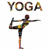 Yoga Background With Woman Practicing Lord Of The Dance Pose poster