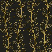Floral Seamless Pattern With Gold Vertical Branches And Leaves On Black Background. Simple Abstract  poster