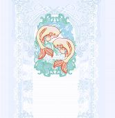 picture of koi tattoo  - japanese koi two fish vector background illustration - JPG