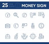 Money Sign Icon Set. Coin, Currency, Wealth. International Business Concept. Can Be Used For Topics  poster