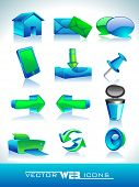Vector illustration of 3D, web 2.0 mail icons set in green and blue color. Can be used for websites,