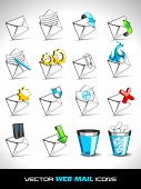 Vector illustration of web 2.0 mail icons set for websites, web applications. email applications or
