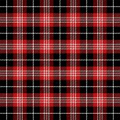 Tartan Plaid. Scottish Pattern In Black, White And Red Cage. Scottish Cage. Traditional Scottish Che poster