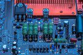 Electrons Metropolis. Piece Of Electronic Equipment - Microchips, Capacitors, Transistors, Resistanc poster