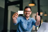 Mock Up Clipping Path Background Backdrop White Size Of Standard Credit Card Smiling Man Holding Emp poster