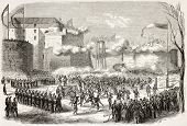 Boulogne-sur-Mer feast for cotton workers old illustration. Created by Godefroy-Durand, published on