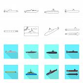 Isolated Object Of War And Ship Sign. Collection Of War And Fleet Vector Icon For Stock. poster