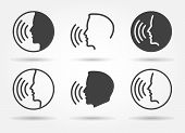 Speaking Icons. Talk Or Talking Person Sign, Man With Open Mouth, Speech Icon For Interview, Interac poster