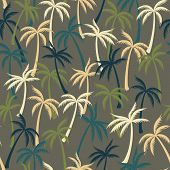 Coconut Palm Tree Pattern Textile Seamless Tropical Forest Background. Flat Vector Fabric Repeating  poster