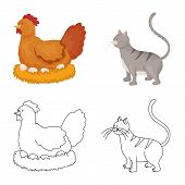 Vector Design Of Breeding And Kitchen Sign. Collection Of Breeding And Organic Stock Symbol For Web. poster