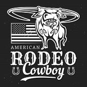 Cowboy Rodeo, American Western Bull Rider Sport Vintage Poster. Vector T-shirt White And Black Outli poster