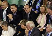 MELBOURNE, VC - JANUARY 25: Actor Kevin Spacey in the crowd during the Australian Open match at Rod