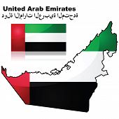 United Arab Emirates Map And Flag